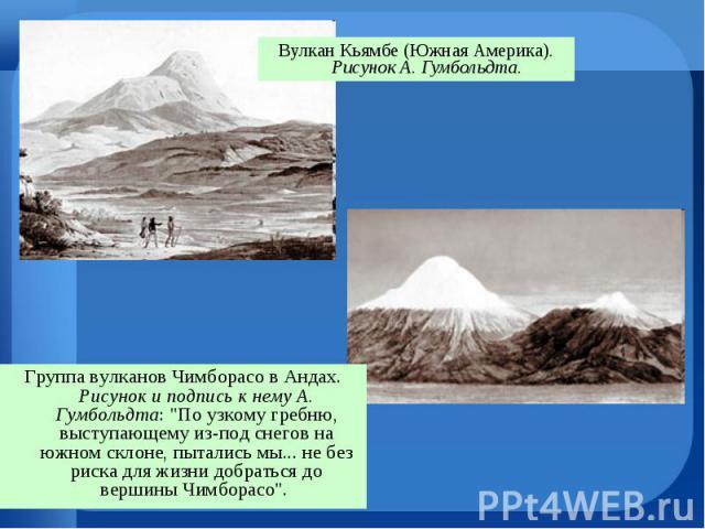 Вулкан Кьямбе (Южная Америка). Рисунок А. Гумбольдта. Вулкан Кьямбе (Южная Америка). Рисунок А. Гумбольдта.