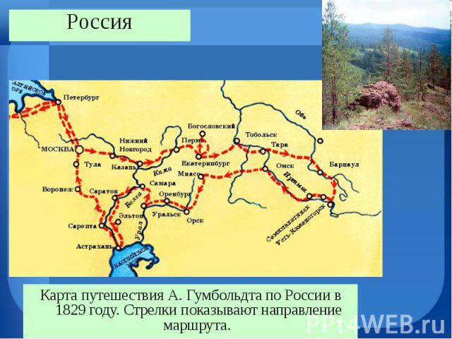 Карта путешествия А. Гумбольдта по России в 1829 году. Стрелки показывают направление маршрута. Карта путешествия А. Гумбольдта по России в 1829 году. Стрелки показывают направление маршрута.