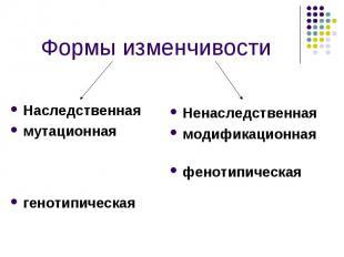 Наследственная Наследственная мутационная генотипическая