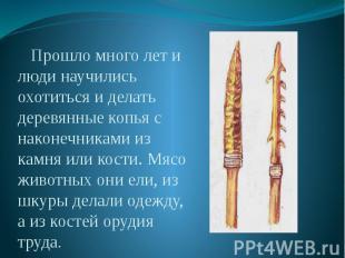 Прошло много лет и люди научились охотиться и делать деревянные копья с наконечн