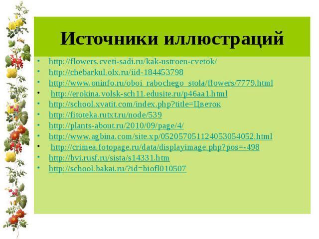 Источники иллюстраций http://flowers.cveti-sadi.ru/kak-ustroen-cvetok/ http://chebarkul.olx.ru/iid-184453798 http://www.oninfo.ru/oboi_rabochego_stola/flowers/7779.html http://erokina.volsk-sch11.edusite.ru/p46aa1.html http://school.xvatit.com/index…