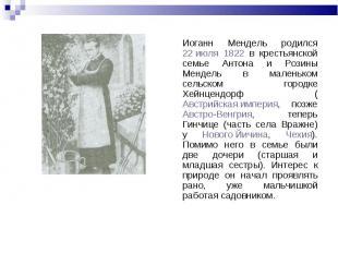 Иоганн Мендель родился 22 июля 1822 в крестьянской семье Антона и Розины Мендель
