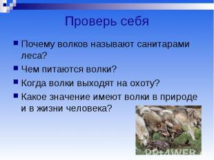 Проверь себя Почему волков называют санитарами леса? Чем питаются волки? Когда в