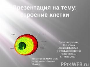 Презентация на тему: строение клетки Выполнил ученик 10 а класса Лощинин Михаил