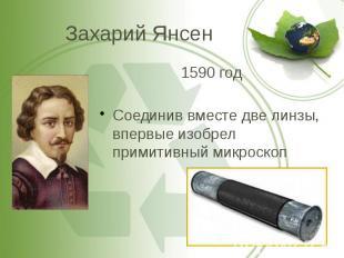 Захарий Янсен 1590 год Соединив вместе две линзы, впервые изобрел примитивный ми