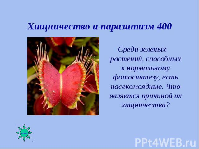 Среди зеленых растений, способных к нормальному фотосинтезу, есть насекомоядные. Что является причиной их хищничества? Среди зеленых растений, способных к нормальному фотосинтезу, есть насекомоядные. Что является причиной их хищничества?