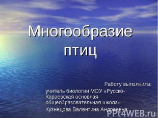 Многообразие птиц Работу выполнила: учитель биологии МОУ «Русско-Караевская осно