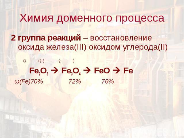 2 группа реакций – восстановление оксида железа(III) оксидом углерода(II) 2 группа реакций – восстановление оксида железа(III) оксидом углерода(II) +3 +2+3 +2 0 Fe2O3 Fe3O4 FeO Fe ω(Fe)70% 72% 76%