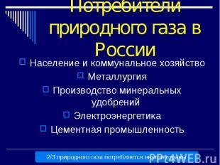Потребители природного газа в России Население и коммунальное хозяйство Металлур