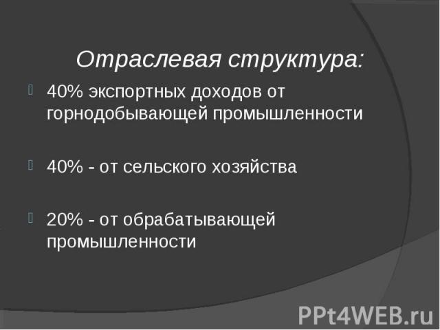 40% экспортных доходов от горнодобывающей промышленности 40% экспортных доходов от горнодобывающей промышленности 40% - от сельского хозяйства 20% - от обрабатывающей промышленности