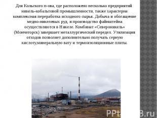 Для Кольского п-ова, где расположено несколько предприятий никель-кобальтовой пр