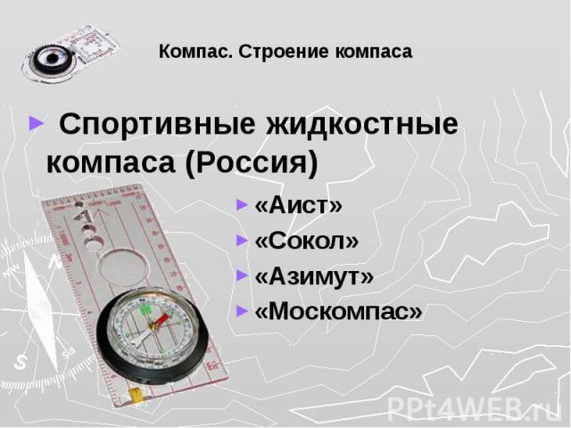 Компас. Строение компаса Спортивные жидкостные компаса (Россия)