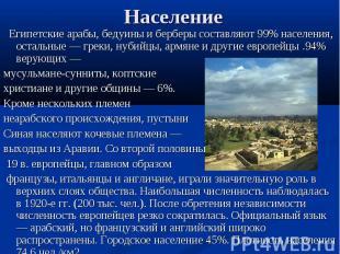 Египетские арабы, бедуины и берберы составляют 99% населения, остальные — греки,