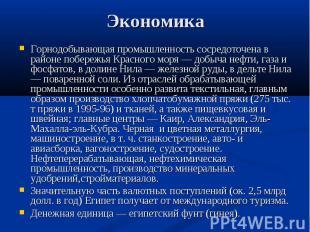 Горнодобывающая промышленность сосредоточена в районе побережья Красного моря —