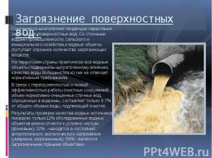 Загрязнение поверхностных вод. Сохраняется многолетняя тенденции нарастания загр