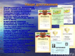 Участие в конкурсах: Экологический форум «Зеленая планета-2008», 2009 Участие в