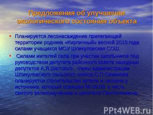 Планируется лесонасаждение прилегающей территории родника «Кирпичный» весной 201