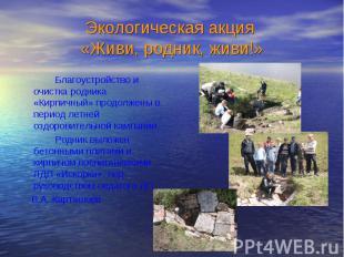 Благоустройство и очистка родника «Кирпичный» продолжены в период летней оздоров