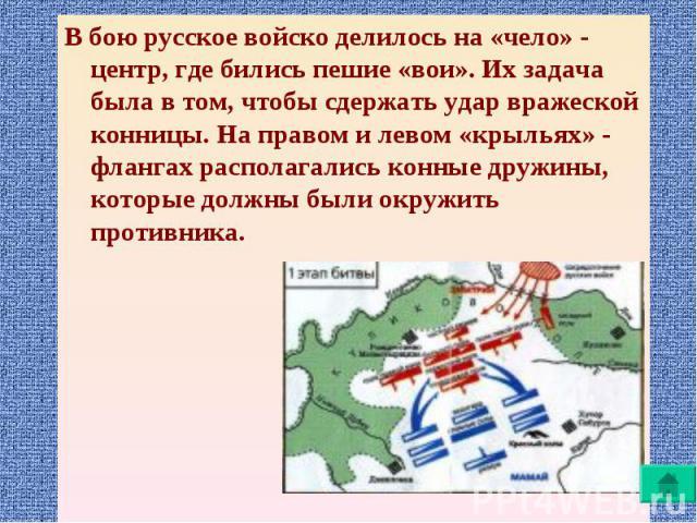 В бою русское войско делилось на «чело» - центр, где бились пешие «вои». Их задача была в том, чтобы сдержать удар вражеской конницы. На правом и левом «крыльях» - флангах располагались конные дружины, которые должны были окружить противника. В бою …