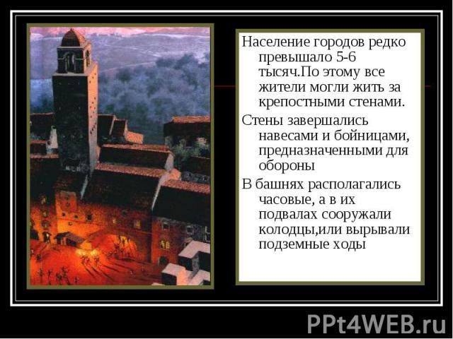 Население городов редко превышало 5-6 тысяч.По этому все жители могли жить за крепостными стенами. Население городов редко превышало 5-6 тысяч.По этому все жители могли жить за крепостными стенами. Стены завершались навесами и бойницами, предназначе…