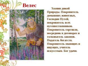 Велес Хозяин дикой Природы. Покровитель домашних животных, Господин Путей, покро