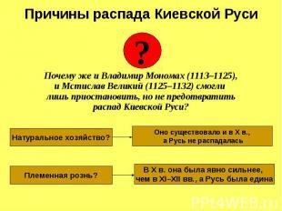 Почему же и Владимир Мономах (1113–1125), и Мстислав Великий (1125–1132) смогли
