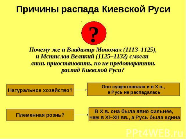 Почему же и Владимир Мономах (1113–1125), и Мстислав Великий (1125–1132) смогли лишь приостановить, но не предотвратить распад Киевской Руси?