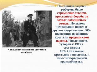 Но главной задачей реформы было стремление отвлечь крестьян от борьбы за захват