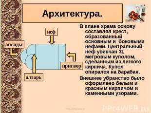 В плане храма основу составлял крест, образованный основным и боковыми нефами. Ц