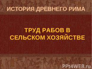 ТРУД РАБОВ В СЕЛЬСКОМ ХОЗЯЙСТВЕ