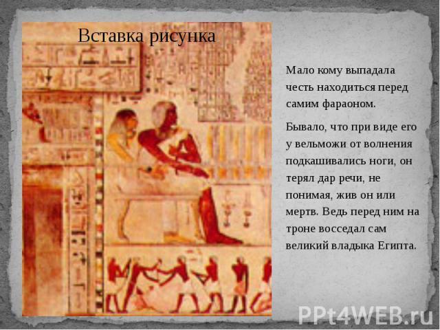Мало кому выпадала честь находиться перед самим фараоном. Мало кому выпадала честь находиться перед самим фараоном. Бывало, что при виде его у вельможи от волнения подкашивались ноги, он терял дар речи, не понимая, жив он или мертв. Ведь перед ним н…