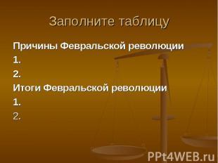 Причины Февральской революции Причины Февральской революции 1. 2. Итоги Февральс