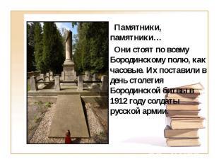 Памятники, памятники… Памятники, памятники… Они стоят по всему Бородинскому полю
