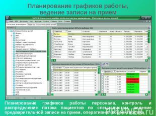 Планирование графиков работы, ведение записи на прием Планирование графиков рабо