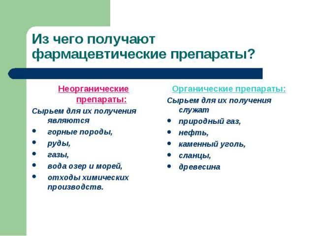 Неорганические препараты: Неорганические препараты: Сырьем для их получения являются горные породы, руды, газы, вода озер и морей, отходы химических производств.