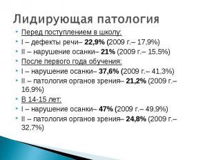 Перед поступлением в школу: Перед поступлением в школу: I – дефекты речи– 22,9%