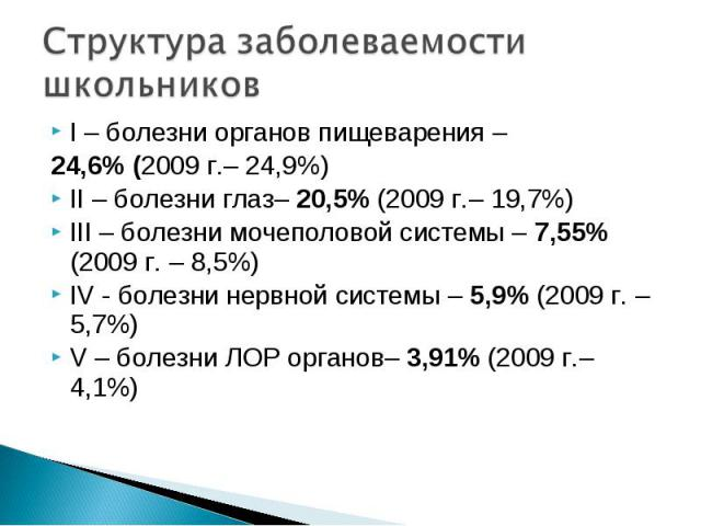 I – болезни органов пищеварения – I – болезни органов пищеварения – 24,6% (2009 г.– 24,9%) II – болезни глаз– 20,5% (2009 г.– 19,7%) III – болезни мочеполовой системы – 7,55% (2009 г. – 8,5%) IV - болезни нервной системы – 5,9% (2009 г. – 5,7%) V – …