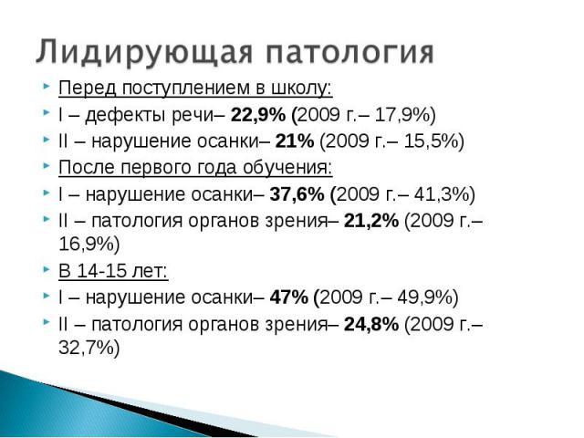 Перед поступлением в школу: Перед поступлением в школу: I – дефекты речи– 22,9% (2009 г.– 17,9%) II – нарушение осанки– 21% (2009 г.– 15,5%) После первого года обучения: I – нарушение осанки– 37,6% (2009 г.– 41,3%) II – патология органов зрения– 21,…