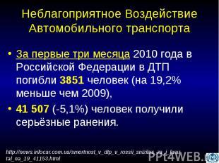Неблагоприятное Воздействие Автомобильного транспорта За первые три месяца 2010