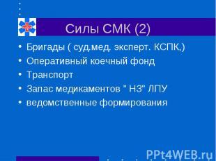 Силы СМК (2) Бригады ( суд.мед. эксперт. КСПК,) Оперативный коечный фонд Транспо