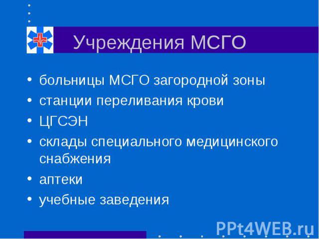 Учреждения МСГО больницы МСГО загородной зоны станции переливания крови ЦГСЭН склады специального медицинского снабжения аптеки учебные заведения