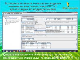 Возможность печати отчетов по сводным экономическим показателям ЛПУ и с детализа
