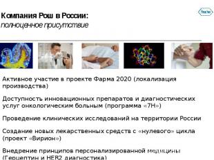 Компания Рош в России: полноценное присутствие Активное участие в проекте Фарма