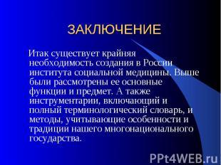 ЗАКЛЮЧЕНИЕ Итак существует крайняя необходимость создания в России института соц
