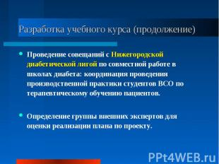 Разработка учебного курса (продолжение) Проведение совещаний с Нижегородской диа