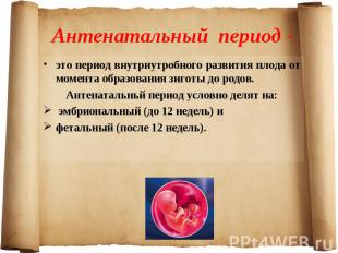 это период внутриутробного развития плода от момента образования зиготы до родов
