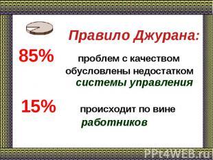 Правило Джурана: 85% проблем с качеством обусловлены недостатком системы управле
