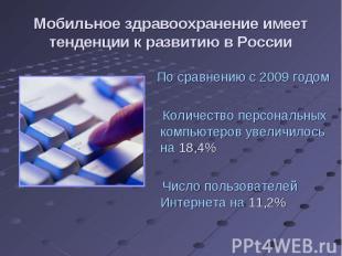 По сравнению с 2009 годом По сравнению с 2009 годом Количество персональных комп