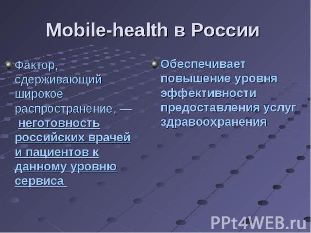 Фактор, сдерживающий широкое распространение, — неготовность российских врачей и пациентов к данному уровню сервиса Фактор, сдерживающий широкое распространение, — неготовность российских врачей и пациентов к данному уровню сервиса