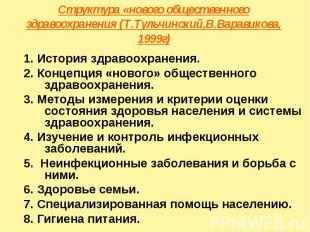Структура «нового общественного здравоохранения (Т.Тульчинский,В.Варавикова, 199